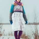 Женское бирюзовое зимнее пальто с мехом (шуба)